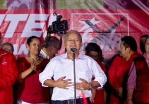 Salvador Sanchez Ceren celebrates election results / AP