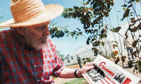Fidel Castro wrote for communist party newspaper Granma but gradually vanished from public view. Photograph: Alex Castro/AP