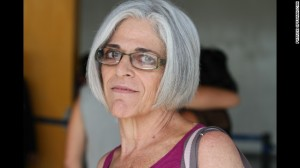 Judy Gross, the wife of jailed US contractor Alan Gross, after arriving in Cuba Tuesday to visit her husband and plead with Cuban government officials to release him from prison. Gross is serving a 15 year sentence for importing banned satellite communications equipment to the island.