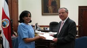 Directorate of Intelligence (DI) officer Leda Elvira Peña Hernández presenting her credentials as the Cuban Ambassador to Costa Rica.