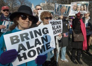 Supporters of Alan Gross across from the White House last year. Credit Paul J. Richards/Agence France-Presse — Getty Images