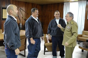 An image provided by Cuba shows President Castro, right, Wednesday with members of the 'Cuban Five' who were released in a U.S. prisoner swap.  European Pressphoto Agency