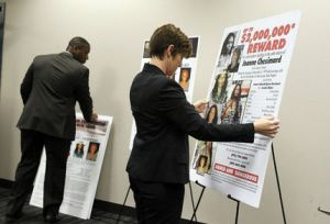 Posters are arranged before a press conference about fugitive domestic terrorist Joanne Chesimard by the New Jersey State Police and the FBI at the FBI office in Newark on Thursday, May 2, 2013. Ed Murray/The Star-Ledger