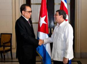North Korean Foreign Minister Ri Su-Yong (L) shakes hands with his Cuban counterpart Bruno Rodriguez upon arriving at the Foreign Ministry in Havana, on March 16, 2015