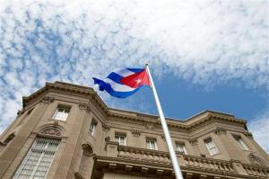 The Cuban flag was raised in Washington D.C. on Monday for the first time in 54 years. Andrew Harnik AP