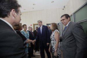 John Kerry, Gustavo Machin, Josefina Vidal, Jose Ramon Cabanas By Carlie Kollath Wells, NOLA.com | The Times-Picayune U.S. Secretary of State John Kerry greets members of the Cuban delegation inside the newly opened embassy, at the end of a flag raising ceremony, in Havana, Cuba, Friday, Aug. 14, 2015. Kerry is accompanied by Gustavo Machin, Cuba's deputy chief of North American affairs, left, Cuba's Josefina Vidal, director general of the U.S. division at Cuba's Foreign Ministry, second right, and Jose Ramon Cabanas, chief of the Cuba mission in Washington D.C., right. (AP Photo/Ismael Francisco, Cubadebate)