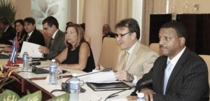 Expelled Directorate of Intelligence (DI) officers Josefina Vidal and Gustavo Machin led the Cuban delegation in yesterday's normalization tallk in Havana. Photo: MINREX